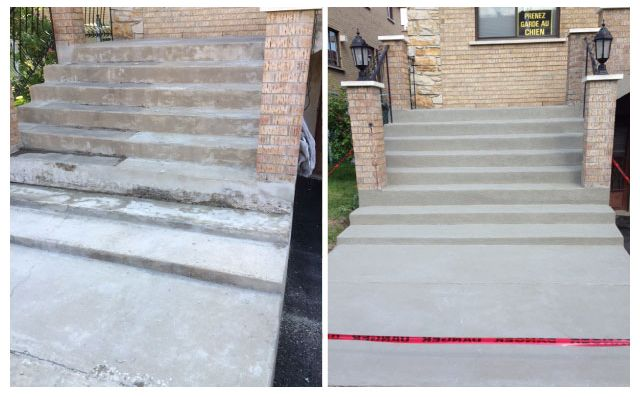 Stairs before and after repair